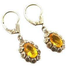 Vintage Kordes Lichtenfels art deco sterling earrings with yellow sapphire color paste