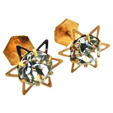 English art deco style 9k gold star stud earrings