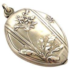 Beautiful art nouveau French 800-900 silver slide locket , primula spring flowers