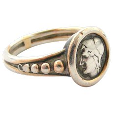 Antique French tiny silver mourning ring 1891