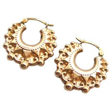 English vintage 9k gold creole earrings Victorian style