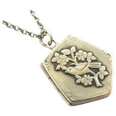 Edwardian sterling silver sparrow fob locket 1905 on 18 inch chain