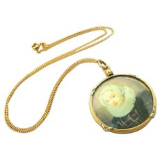 French antique gold fill and glass photo locket by Oria