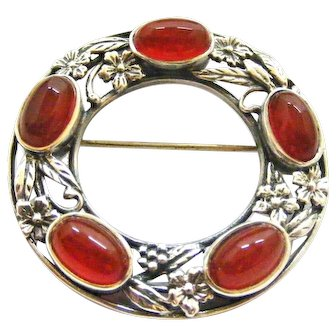 English arts and crafts sterling silver carnelian brooch Shipton and Co.