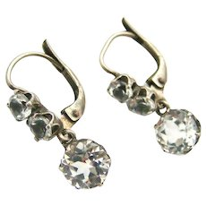 French antique crystal paste earrings in 800 silver lever back settings