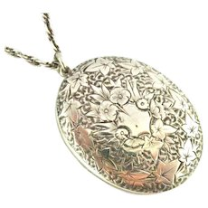 French silver back and front locket on 24 inch sterling chain