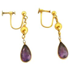 Edwardian 9k gold amethyst drop earrings
