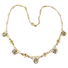 French art nouveau yellow and white gold filled necklace