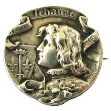 French antique 800-900 silver Joan of arc brooch signed Becker