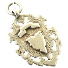 Victorian sterling silver shield watch fob