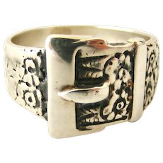 Vintage Victorian style buckle ring orange blossom sterling silver size 11