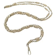 French style filigree sterling silver 50 inch muff or guard chains
