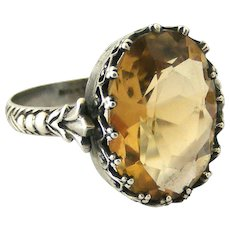 Edwardian arts and crafts sterling silver citrine ring