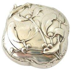 French art nouveau 800-900 silver mistletoe compact  box locket