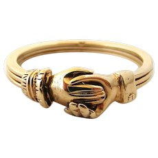 Vintage 9k gold gimmel fede ring with hidden diamond, large size