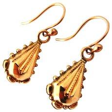 Delightful English 9k rose gold Victorian dangling earrings