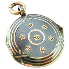 Antique Continental 800 silver niello and rose gold vermeil star locket