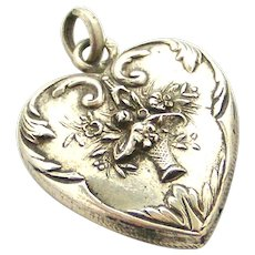 French art nouveau 800-900 silver puffy heart