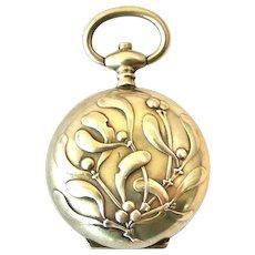 French art nouveau 800-900 silver mistletoe chatelaine fob locket sovereign case