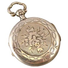French antique 800-900 silver engraved fob locket