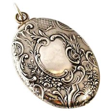 Huge French antique 800-900 silver slide mirror locket with forget me not flowers.
