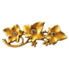 French antique art nouveau FIX ivy brooch