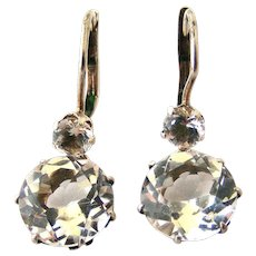 French 800 silver rock crystal earrings Edwardian era