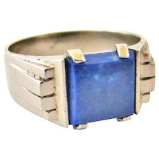 French art deco 800-900 silver skyscraper signet ring with lapis lazuli.