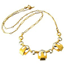 Art Deco French gold filled necklace by Oria