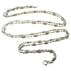 Beautiful French silver knot link muff guard chain 58 inches long