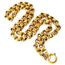 Victorian sterling silver vermeil book chain, locket chain