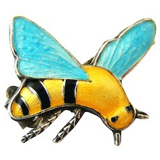 Delightful English sterling silver guilloche enamel bee brooch