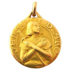 French FIX 18k gold fill Joan of arc pendant