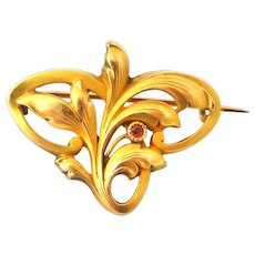 French FIX 18k gold fill leaf brooch