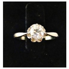 French vintage 18k white gold solitaire ring with white sapphire