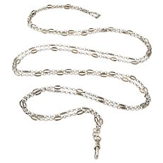 French art deco 800-900 silver 56 inch long guard chain