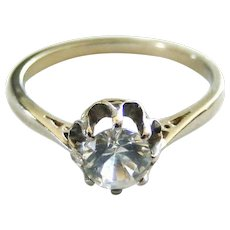 French antique 18k white gold white sapphire solitaire ring