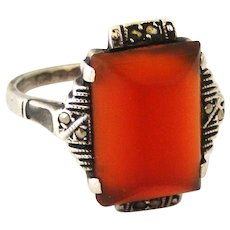 Art deco 900 silver carnelian ring with marcasites