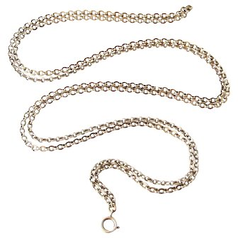 French antique 800-900 silver guard chain for lorgnette or muff