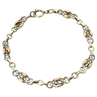 French antique silver and rose gold vermeil bracelet