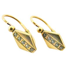 French FIX art deco 18k gold fill seed pearl dormeuses earrings