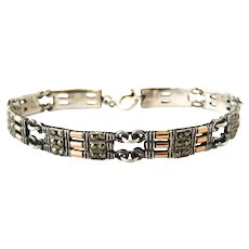 Art Deco European sterling silver rose gold and marcasite bracelet