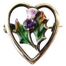 Tiny Charles Horner silver enamel thistle brooch heart lace pin