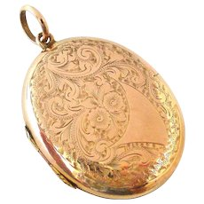 English Victorian large 9k rose gold back and front locket hand engraved