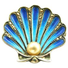 Stunning French art deco silver enamel and marcasite cockle or scallop shell brooch