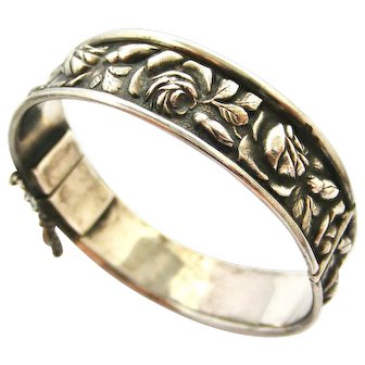 French antique silver embossed roses bangle bracelet