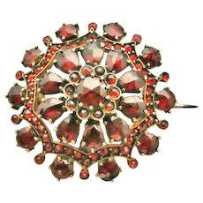 Victorian Bohemian rose cut garnet brooch