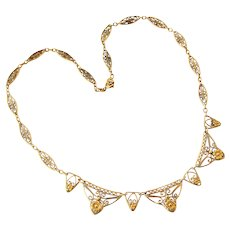 French art nouveau gold filled filigree necklace