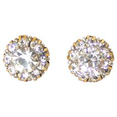 Fabulous Edwardian paste flower cluster stud earrings in 9k gold