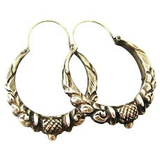 Vintage repousse embossed sterling silver creole earrings